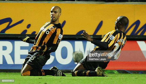 Marlon King of Hull celebrates his goal during the Barclays Premier League match between Hull City and Middlesbrough at the KC Stadium on December 6...