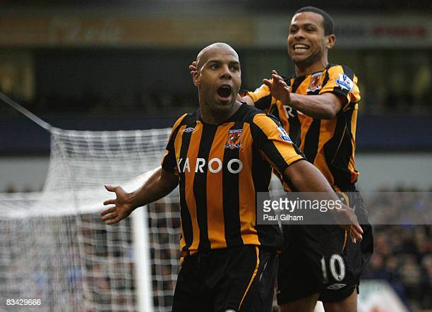 Marlon King of Hull City celebrates scoring the third goal for Hull City during the Barclays Premier League match between West Bromwich Albion and...