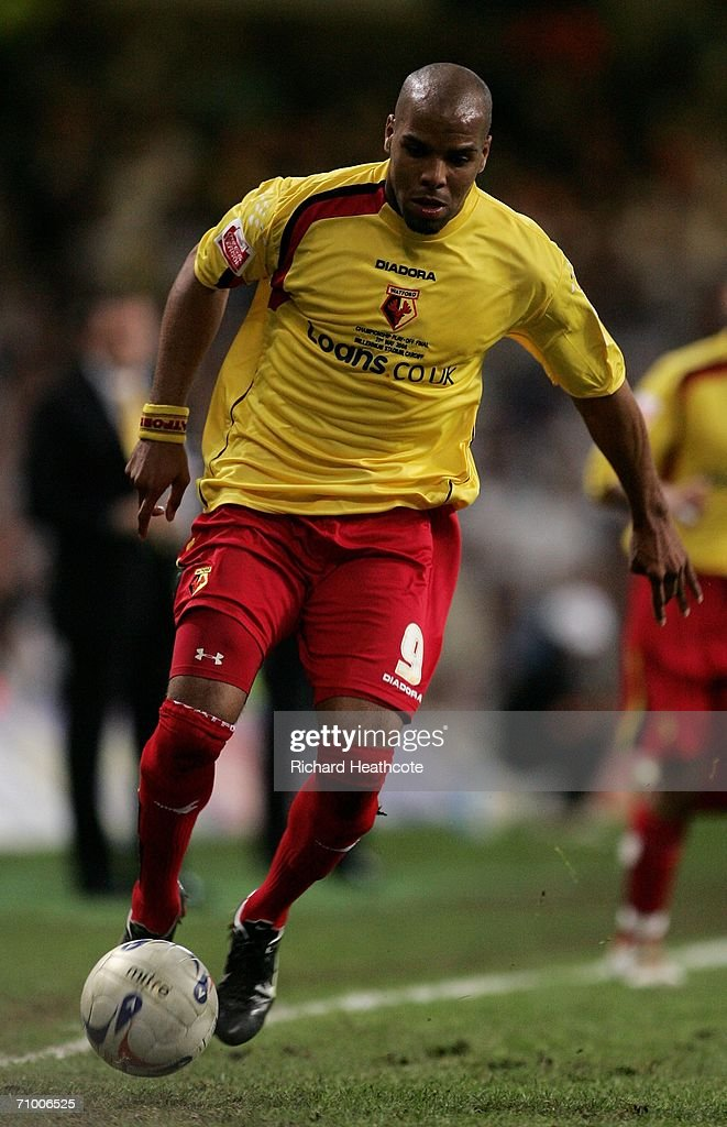Marlon King of Watford controls the ball during the Coca-Cola Championship Playoff Final between Leeds United and Watford at the Millennium Stadium on May 21, 2006 in Cardiff, Wales.