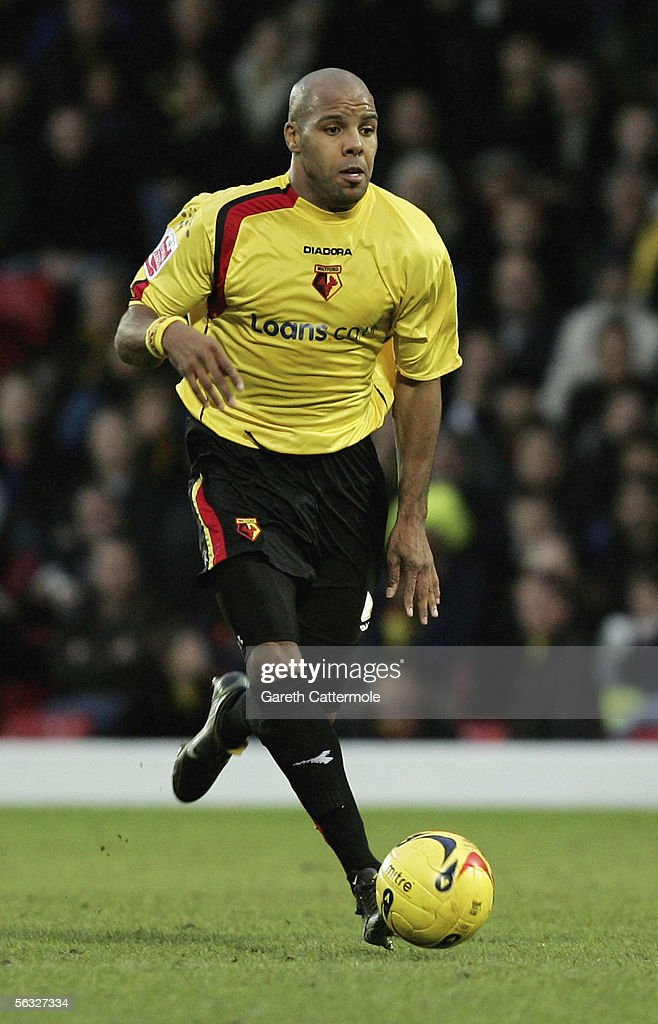Marlon King of Watford in action during the Coca-Cola Championship match between Watford and Brighton & Hove Albion at Vicarage Road on December 3, 2005 in Watford, England.