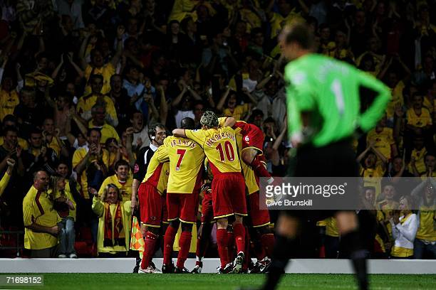 Marlon King of Watford is mobbed by team mates after scoring the first goal of the game during the Barclays Premiership match between Watford and...