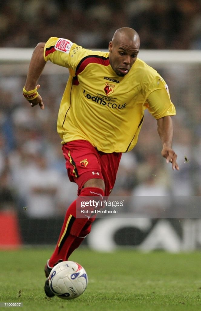Marlon King of Watford moves forward in attack during the Coca-Cola Championship Playoff Final between Leeds United and Watford at the Millennium Stadium on May 21, 2006 in Cardiff, Wales.