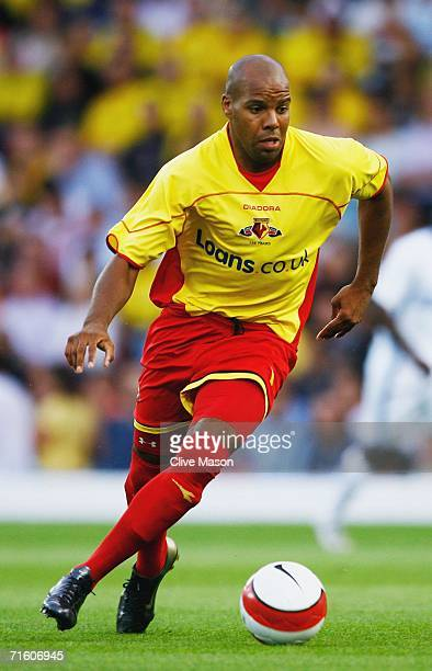 Marlon King of Watford on the attack during the friendly match between Watford and Inter Milan at Vicarage Road on August 8 in Watford England