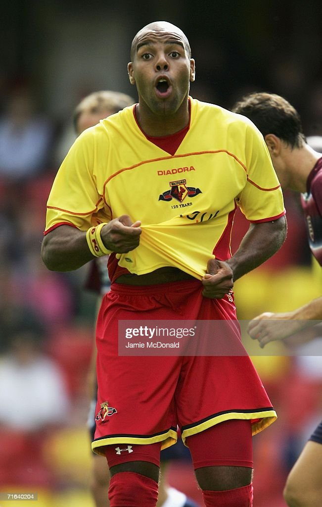 Marlon King of Watford reacts during the pre-season match between Watford and Chievo Verona at Vicarage Road on August 13, 2006 in Watford, England.