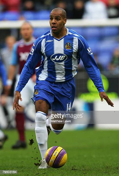 Marlon King of Wigan Athletic in action during the Barclays Premier League match between Wigan Athletic and West Ham United at the JJB Stadium on...