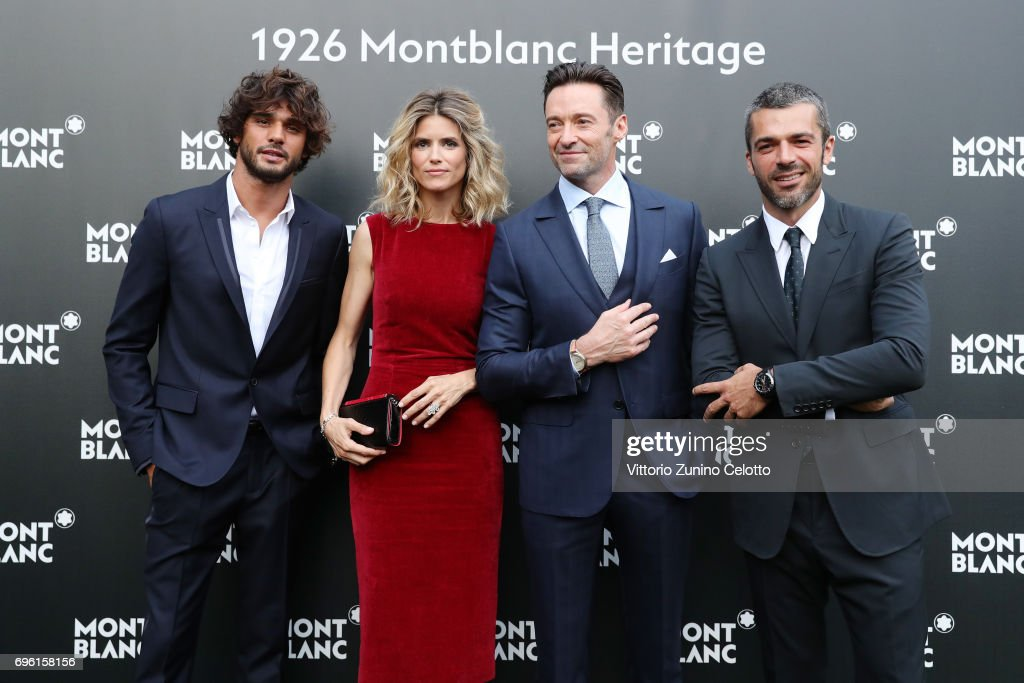 Marlon Luiz Teixeira, Alice Taglioni, Hugh Jackman and Luca Argentero attend the '1926 Montblanc Heritage Launch event' on June 14, 2017 in Florence, Italy.