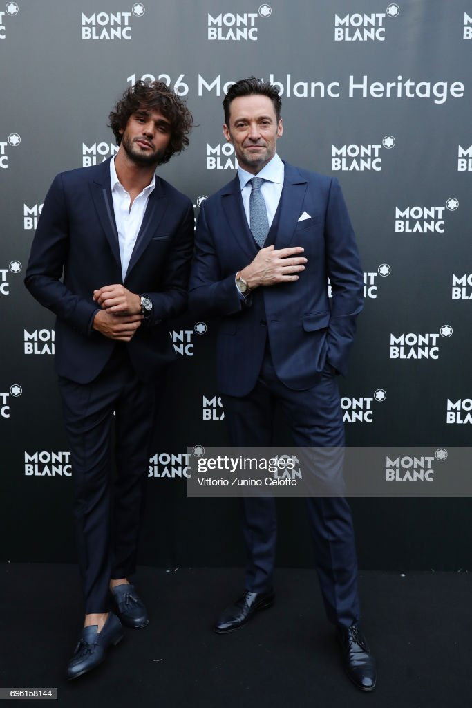 Marlon Luiz Teixeira and Hugh Jackman attend the '1926 Montblanc Heritage Launch event' on June 14, 2017 in Florence, Italy.