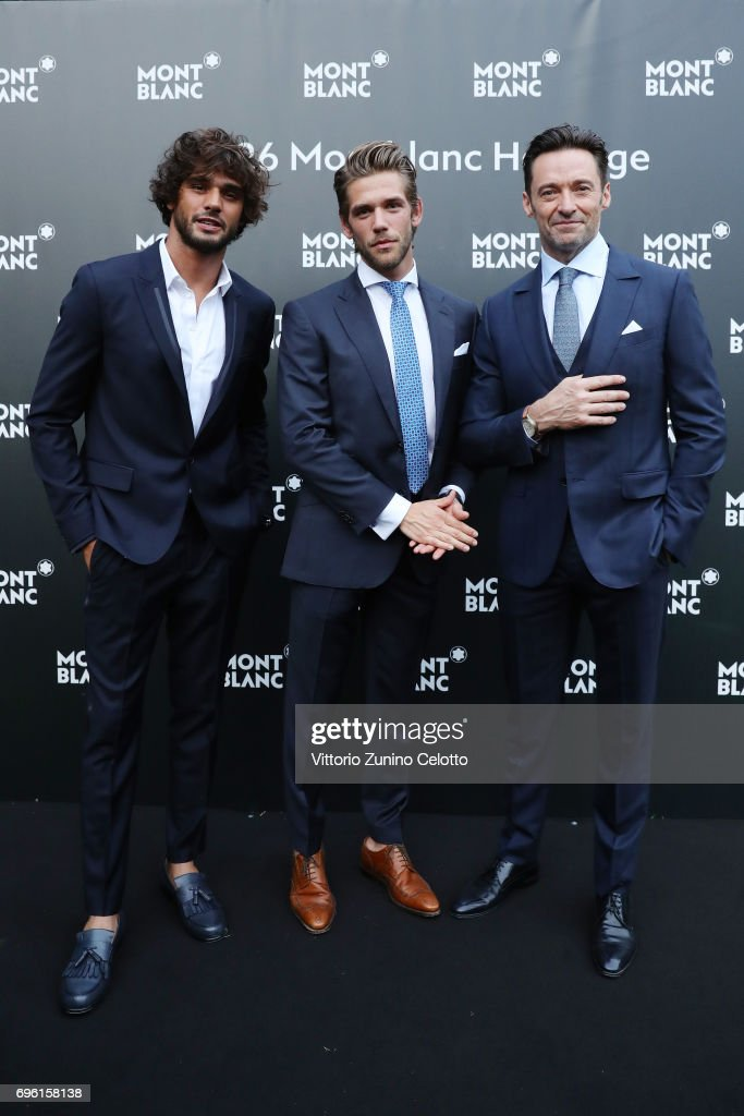 Marlon Luiz Teixeira, Ben Dahlhaus and Hugh Jackman attend '1926 Montblanc Heritage Launch event' on June 14, 2017 in Florence, Italy.