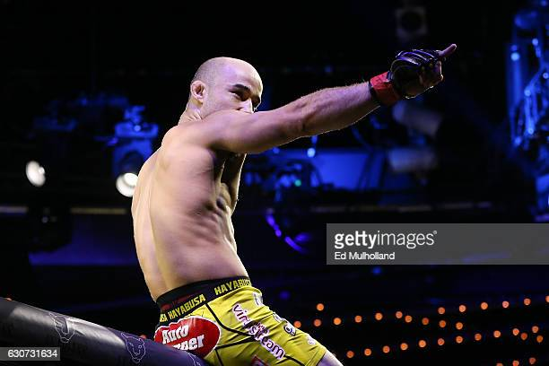Marlon Moraes celebrates his stoppage win over Josenaldo Silva during their World Series of Fighting bantamweight championship fight at The Theater...