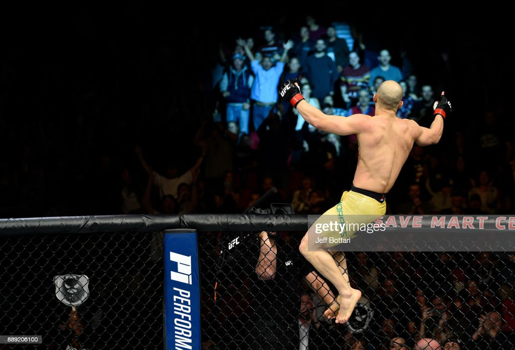Marlon Moraes of Brazil celebrates his knockout victory over Aljamain Sterling in their bantamweight bout during the UFC Fight Night event inside Save Mart Center on December 9, 2017 in Fresno, California.