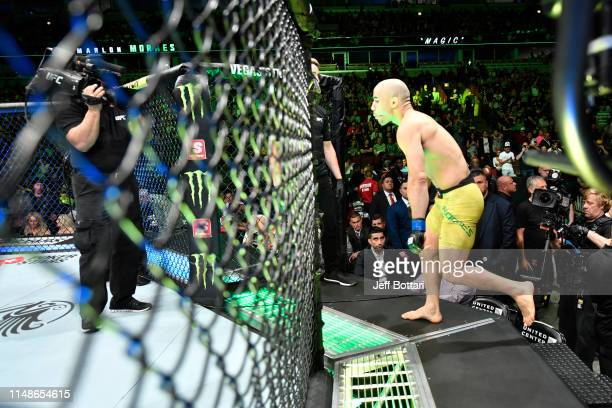 Marlon Moraes of Brazil enters the Octagon prior to his bantamweight championship bout against Henry Cejudo during the UFC 238 event at the United...