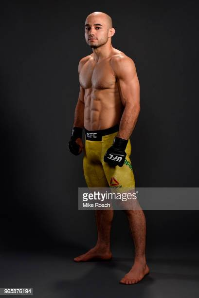 Marlon Moraes of Brazil poses for a post fight portrait during the UFC Fight Night event at the Adirondack Bank Center on June 1 2018 in Utica New...