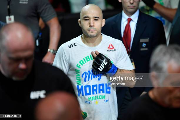 Marlon Moraes of Brazil prepares to enter the Octagon prior to his bantamweight championship bout against Henry Cejudo during the UFC 238 event at...