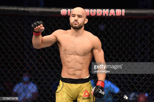 Marlon Moraes of Brazil stands in his corner prior to his bantamweight bout against Cory Sandhagen during the UFC Fight Night event inside Flash...
