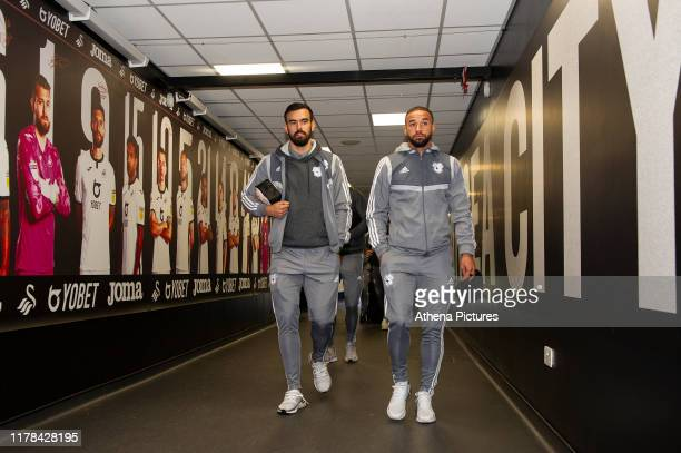 Marlon Pack and Jazz Richards of Cardiff City arrive for the Sky Bet Championship match between Swansea City and Cardiff City at the Liberty Stadium...