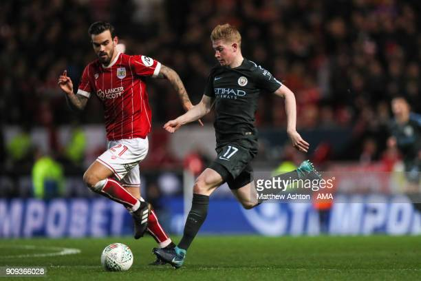 Marlon Pack of Bristol City and Kevin De Bruyne of Manchester City during the Carabao Cup SemiFinal Second Leg between Bristol City and Manchester...