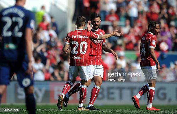 Marlon Pack of Bristol City celebrates after scoring his sides first goal during the Sky Bet Championship match between Bristol City and Hull City at...
