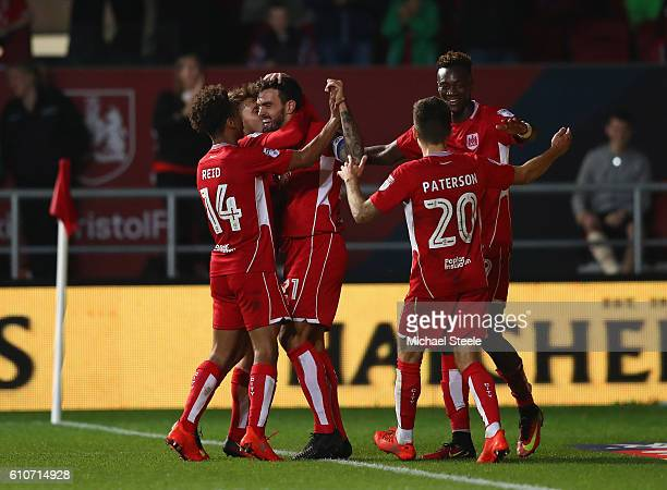 Marlon Pack of Bristol City celebrates after scoring the opening goal during the Sky Bet Championship match between Bristol City and Leeds United at...