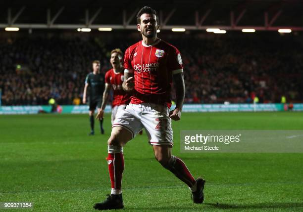 Marlon Pack of Bristol City celebrates as he scores their first goal during the Carabao Cup semifinal second leg match between Bristol City and...