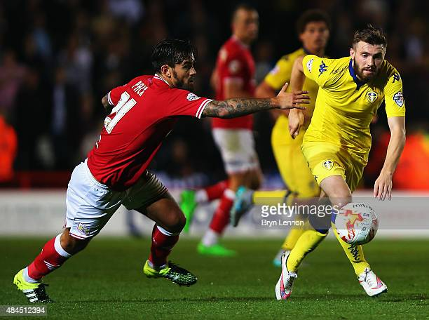 Marlon Pack of Bristol City challenges Stuart Dallas of Leeds United during the Sky Bet Championship match between Bristol City and Leeds United at...