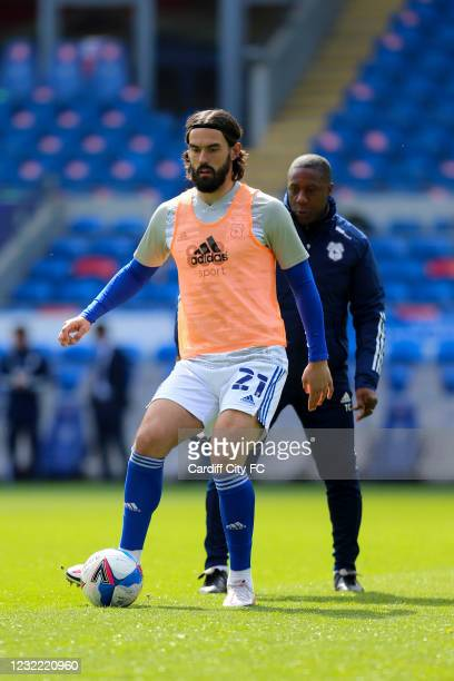 Marlon Pack of Cardiff City FC warming up before the Sky Bet Championship match between Cardiff City and Blackburn Rovers at Cardiff City Stadium on...