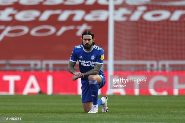 Marlon Pack of Cardiff City takes the knee during the Sky Bet Championship match between Middlesbrough and Cardiff City at the Riverside Stadium,...