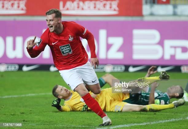 Marlon Ritter of Kaiserslautern celebrates his team's first goal during the 3. Liga match between 1. FC Kaiserslautern and VfB Luebeck at...