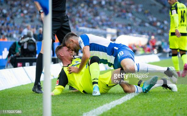 Marlon Ritter of SC Paderborn and Vedad Ibisevic of Hertha BSC during the german soccer league match between Hertha BSC against SC Paderborn at...