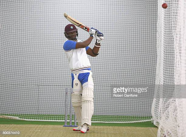 Marlon Samuels of the West Indies bats during a West Indies training session at Blundstone Arena on December 8 2015 in Hobart Australia