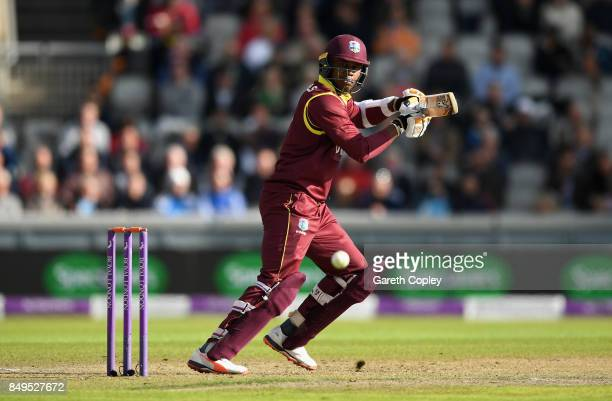 Marlon Samuels of the West Indies bats during the 1st Royal London One Day International match between England and the West Indies at Old Trafford on...