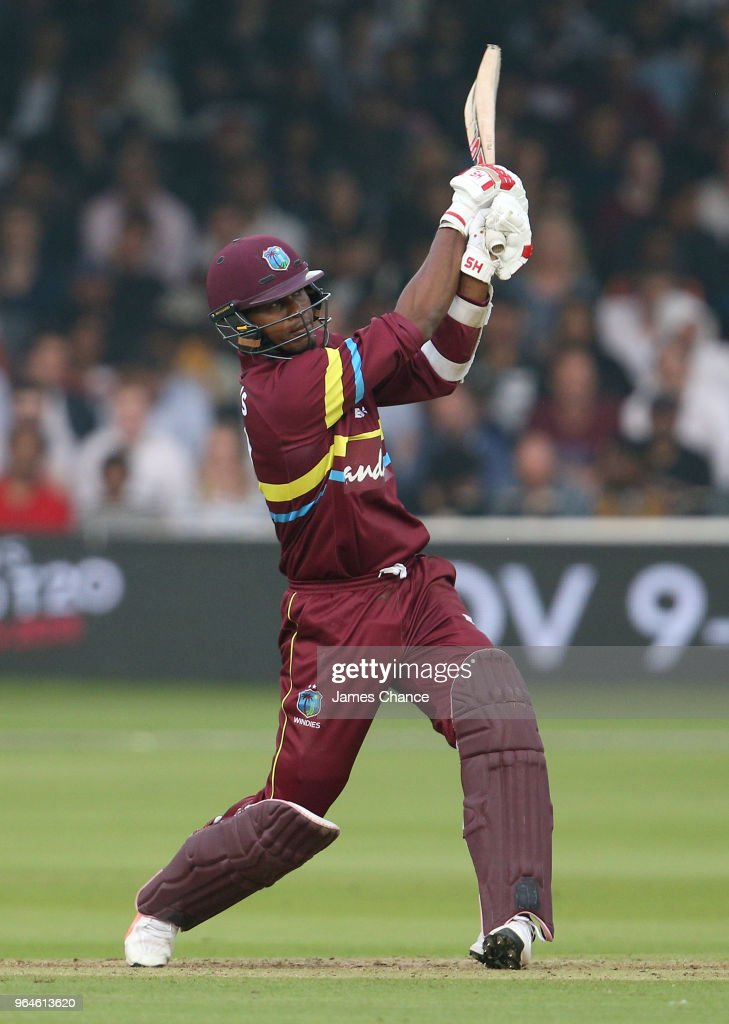 Marlon Samuels of the West Indies bats during the Hurricane Relief T20 match between the ICC World XI and West Indies at Lord's Cricket Ground on May 31, 2018 in London, England.