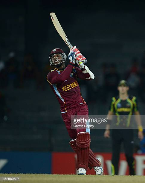 Marlon Samuels of the West Indies bats during the ICC World Twenty20 2012 Group B match between Australia and the West Indies at R Premadasa Stadium...