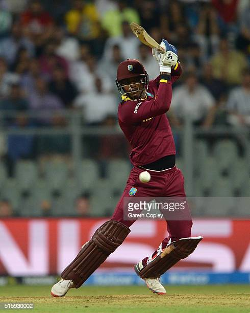 Marlon Samuels of the West Indies bats during the ICC World Twenty20 India 2016 Super 10s Group 1 match between West Indies and England at Wankhede...