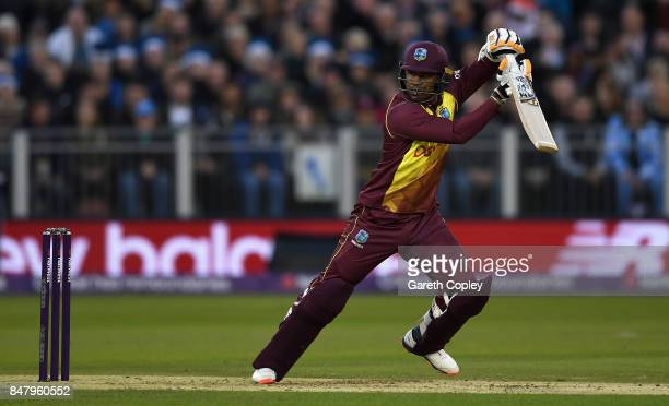 Marlon Samuels of the West Indies bats during the NatWest T20 International match between England and the West Indies at Emirates Durham ICG on...