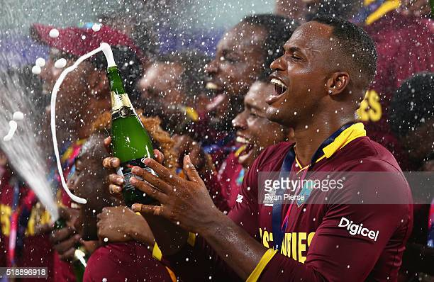 Marlon Samuels of the West Indies celebrates victory during the ICC World Twenty20 India 2016 Final match between England and West Indies at Eden...