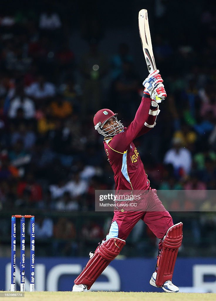 Marlon Samuels of the West Indies hits a six during the ICC World Twenty20 match Group B match between Australia and the West Indies at R. Premadasa Stadium on September 22, 2012 in Colombo, Sri Lanka.