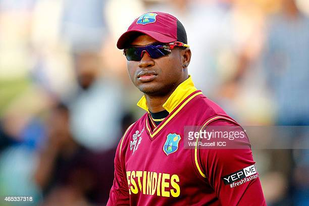 Marlon Samuels of the West Indies walks onto the ground during the 2015 ICC Cricket World Cup match between India and the West Indies at WACA on...