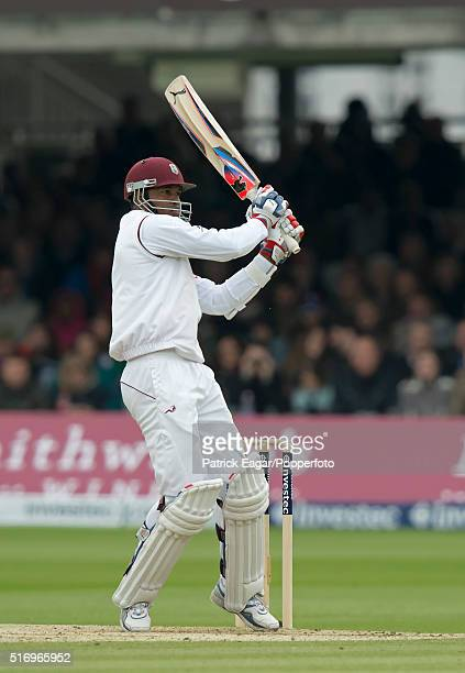 Marlon Samuels of West Indies batting during his innings of 86 in the 1st Test between England and West Indies at Lord's Cricket Ground London 20th...