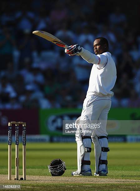 Marlon Samuels of West Indies celebrates his century during the Second Investec Test Match between England and West Indies at Trent Bridge on May 25...