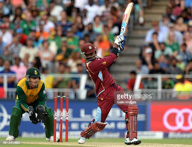 Marlon Samuels of West Indies hits a six during the 2nd KFC T20 International match between South Africa and West Indies at Bidvest Wanderers Stadium...