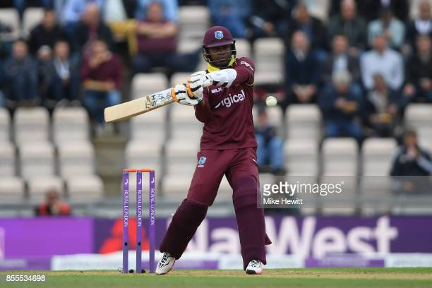 Marlon Samuels of West Indies hits out during the 5th Royal London One Day International between England and West Indies at Ageas Bowl on September...