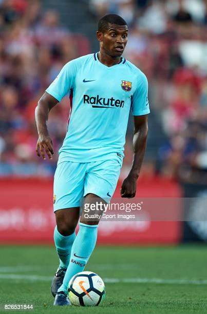 Marlon Santos of Barcelona in action during the preseason friendly match between Gimnastic de Tarragona and FC Barcelona at Nou Estadi de Tarragona...