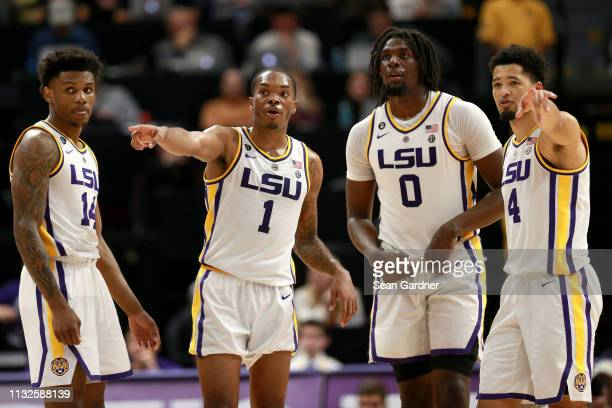 Marlon Taylor Ja'vonte Smart Naz Reid and Skylar Mays of the LSU Tigers stans on the court during a game against the Texas AM Aggies at Pete Maravich...