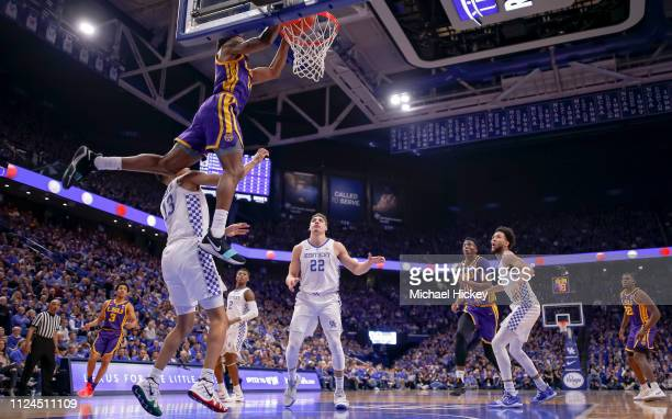 Marlon Taylor of the LSU Tigers dunks the ball during an alley-oop against the Kentucky Wildcats in the first half at Rupp Arena on February 12, 2019...