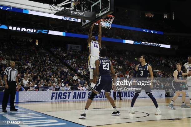 Marlon Taylor of the LSU Tigers takes a shot in front of Jordan Bruner of the Yale Bulldogs in the first half during the first round of the 2019 NCAA...