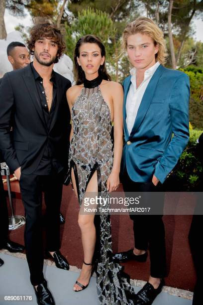 Marlon Teixeira Georgia Fowler and Jordan Barrett attend the amfAR Gala Cannes 2017 at Hotel du CapEdenRoc on May 25 2017 in Cap d'Antibes France