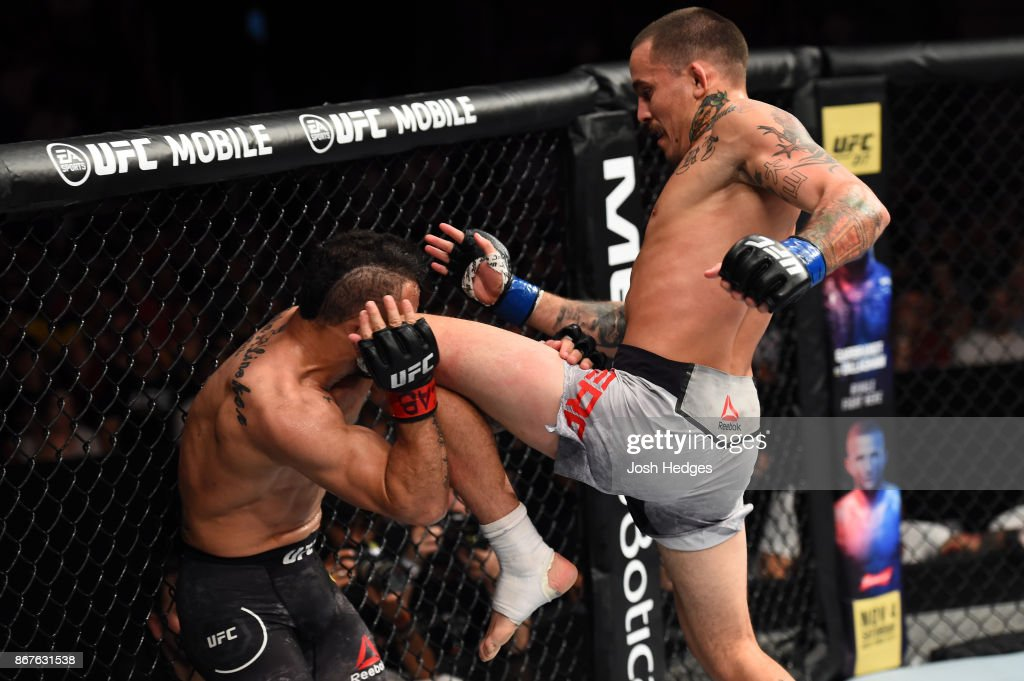 Marlon Vera of Ecuador lands a knee to the head of John Lineker of Brazil in their bantamweight bout during the UFC Fight Night event inside the Ibirapuera Gymnasium on October 28, 2017 in Sao Paulo, Brazil.