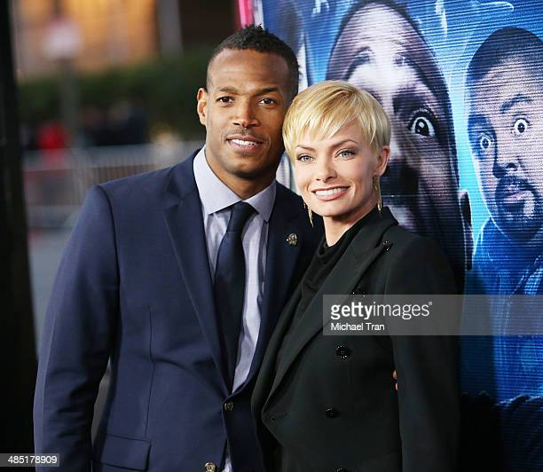 Marlon Wayans and Jaime Pressly arrive at the Los Angeles premiere of 'A Haunted House 2' held at Regal Cinemas LA Live on April 16 2014 in Los...