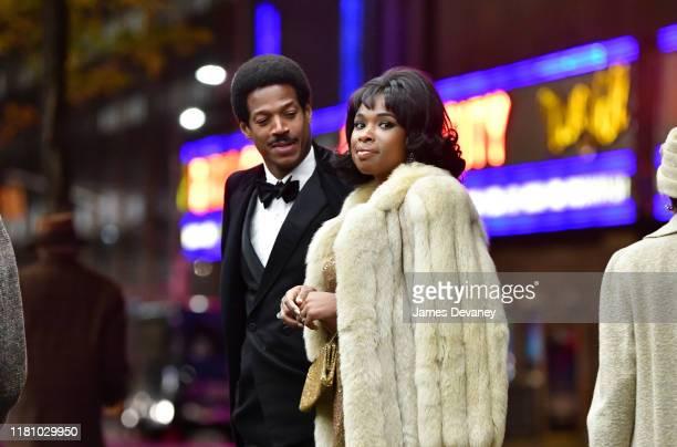 Marlon Wayans and Jennifer Hudson seen filming on location for 'Respect' at Rockefeller Center on November 8 2019 in New York City
