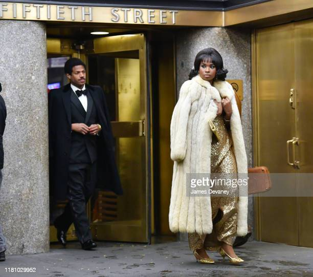 Marlon Wayans and Jennifer Hudson seen filming on location for 'Respect' at Rockefeller Center on November 8 2019 in New York City